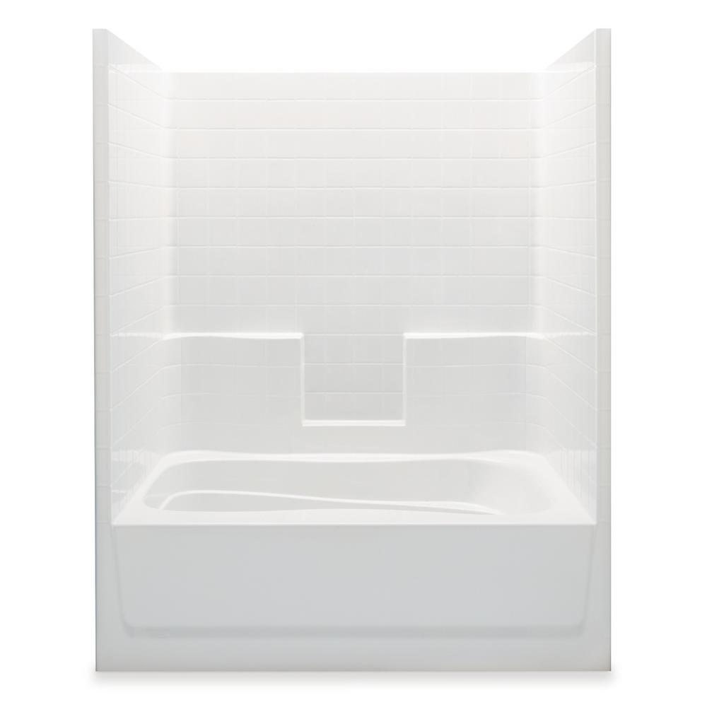 Aquatic Everyday Smooth Tile 60 in. x 36 in. x 76 in. 1-Piece Bath ...