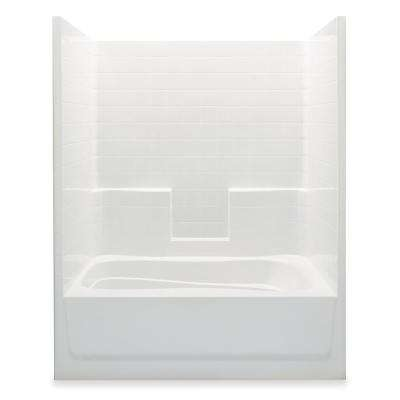 Everyday Smooth Tile 60 in. x 36 in. x 76 in. 1-Piece Bath and Shower Kit with Left Drain in White