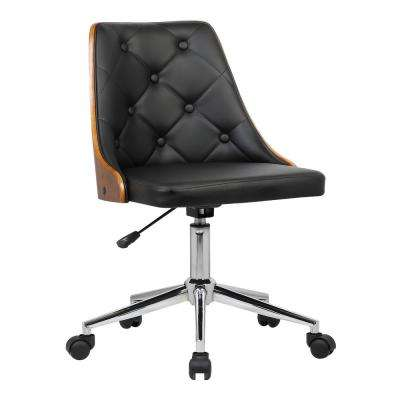 Diamond 35 in. Black Faux Leather and Chrome Finish Mid-Century Office Chair