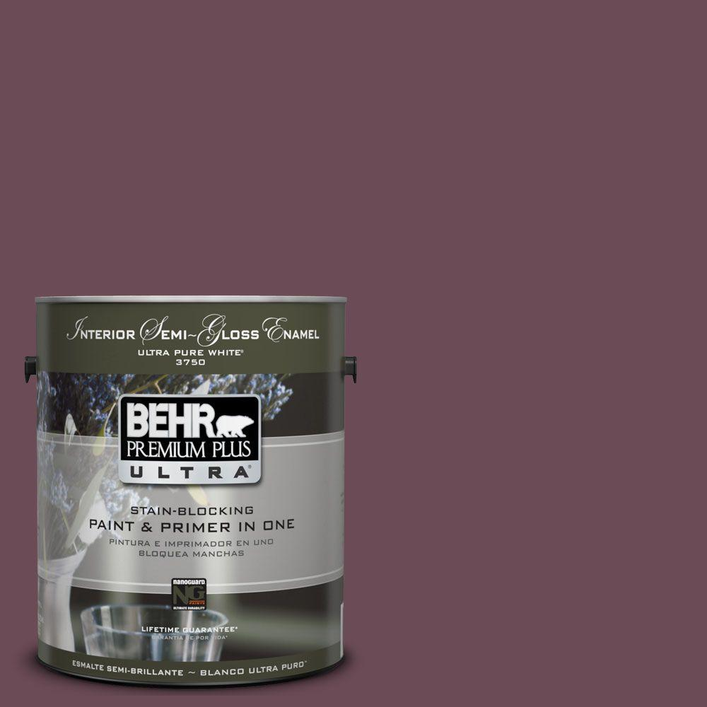 BEHR Premium Plus Ultra 1-gal. #UL100-22 Spiced Plum Interior Semi-Gloss Enamel Paint-DISCONTINUED