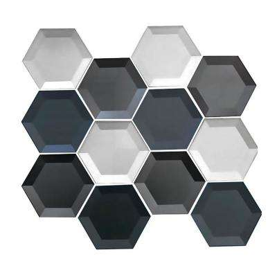 "Gray Handmade Metallic Mosaic 3"" x 3"" Beveled Glass Mesh Mounted Decorative Bathroom Wall Backsplash Tile (0.7 Sq. ft.)"