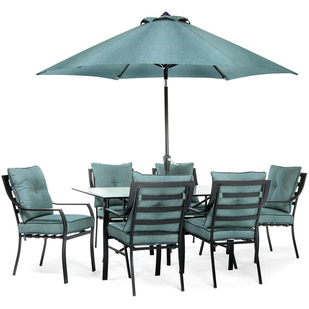 Hanover Lavallette Black Steel 7-Piece Outdoor Dining Set with Umbrella,  Base and Ocean Blue Cushions
