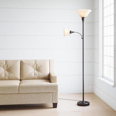 71 in. Antique Bronze Floor Lamp with 2 Alabaster Glass Shades