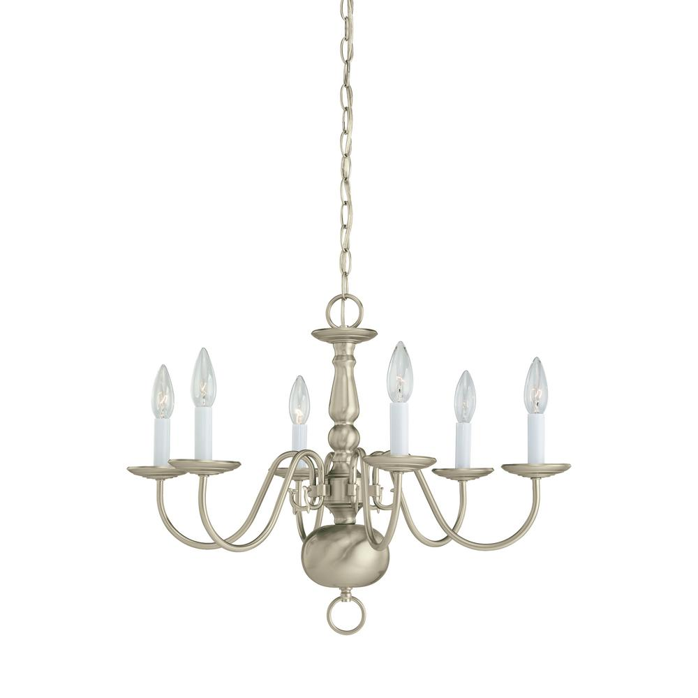 Sea Gull Lighting Traditional 6 Light Brushed Nickel Chandelier