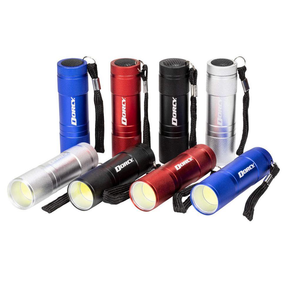 3AAA COB LED Aluminum Flashlights, 4-Colors (8-Pack)
