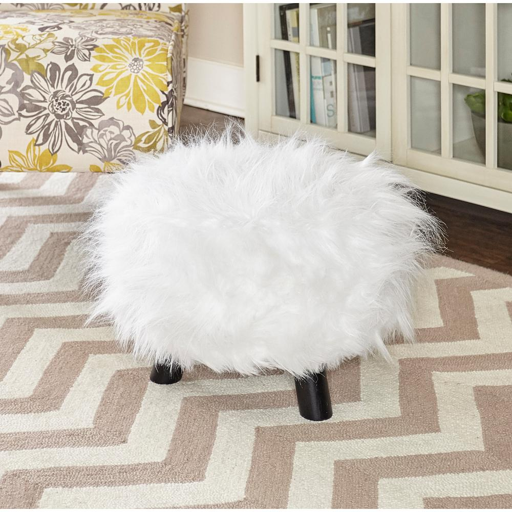 Linon Home Decor White Accent Foot Stool