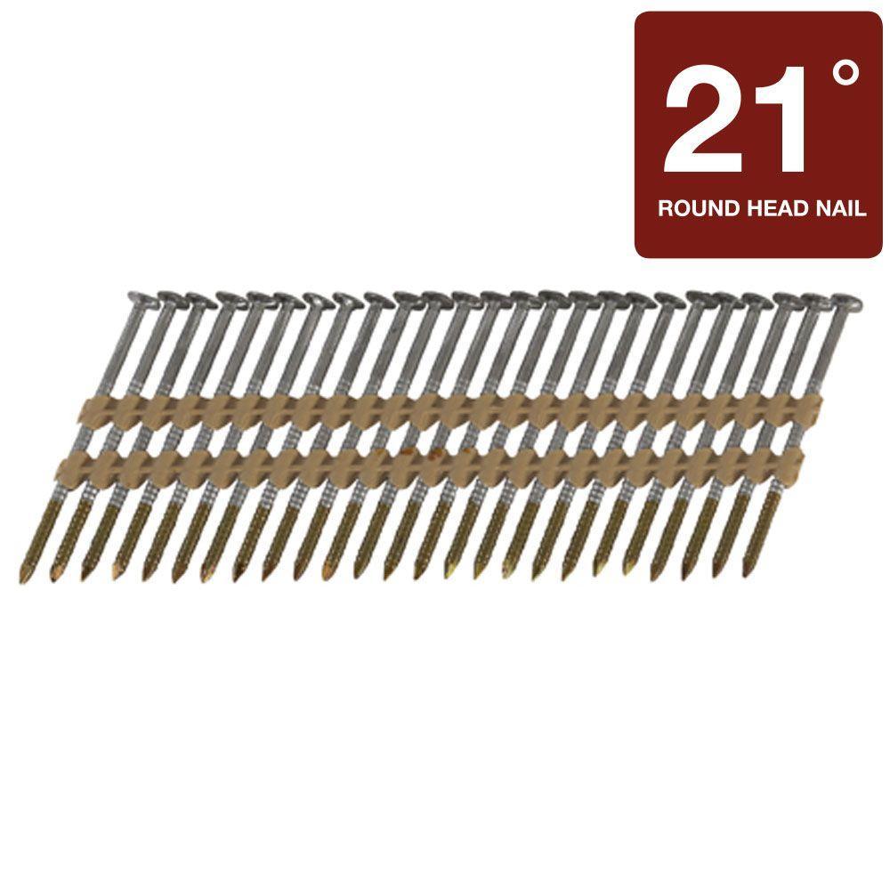 Hitachi 3 in. x 0.131 in. Full Round-Head Brite Plastic Strip Framing Nails (4,000-Pack)