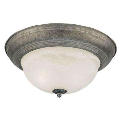 2-Light River Rock Flush Mount with Marble Glass