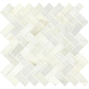 Greecian White Herringbone Pattern 12 in. x 12 in. x 10 mm Polished Marble Mesh-Mounted Mosaic Tile