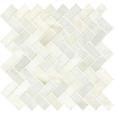Greecian White Herringbone Pattern 12 in. x 12 in. x 10mm Polished Marble Mesh-Mounted Mosaic Tile (10 sq. ft. / case)