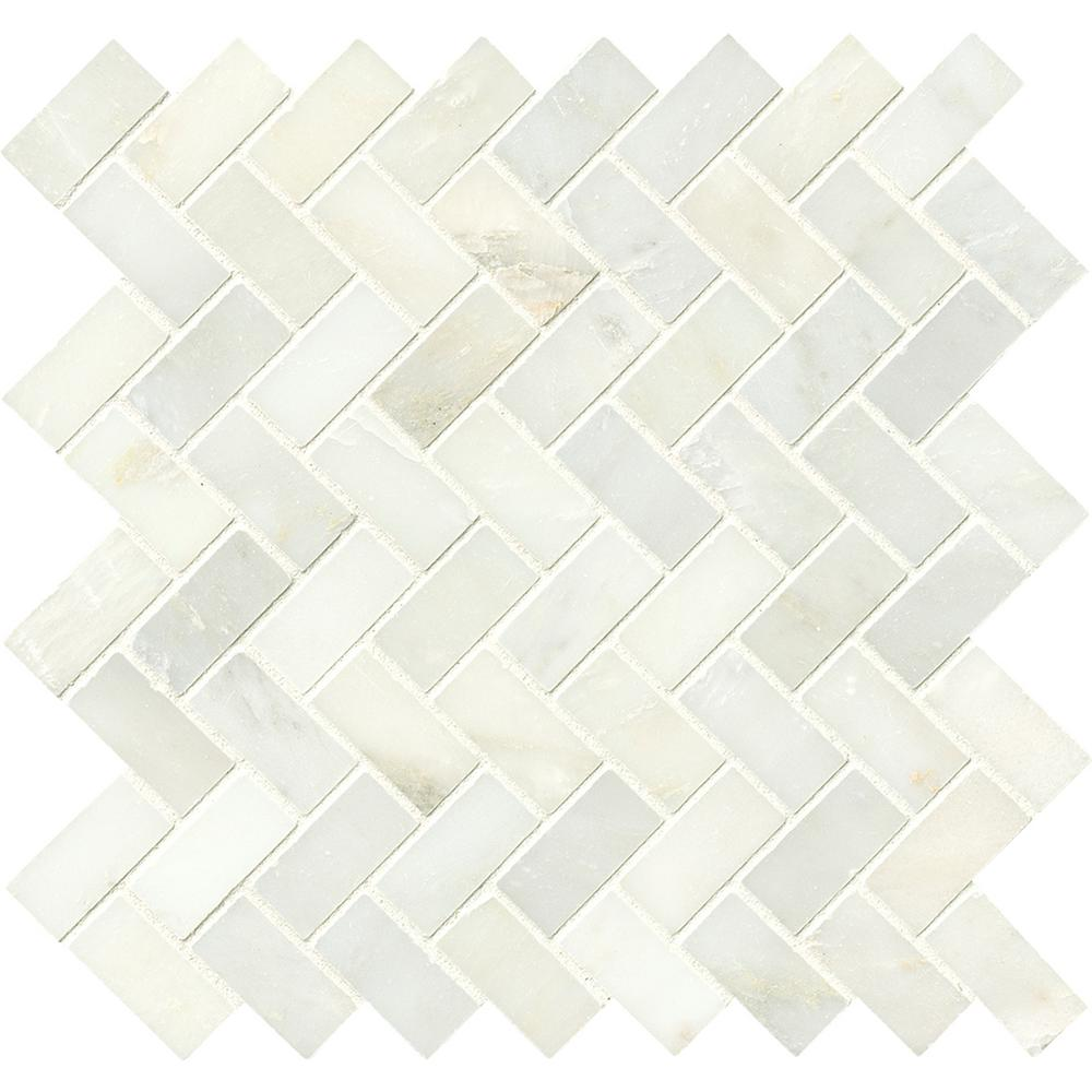 Superb Greecian White Herringbone Pattern 12 In. X 12 In. X 10 Mm Polished Marble
