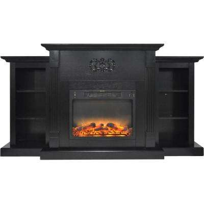 Classic 72 in. Electric Fireplace in Black Coffee with Built-in Bookshelves and an Enhanced Log Display