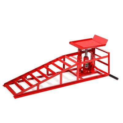 Heavy-Duty 5-Ton Auto Service Ramp Low Profile Steel Hydraulic Lift Repair Frame for Cars Trucks Trailers
