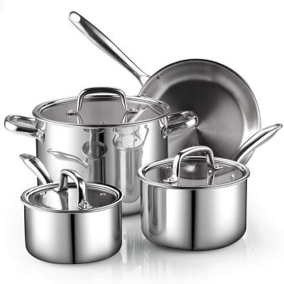 7-Piece Tri-Ply Clad Stainless Steel Cookware Set