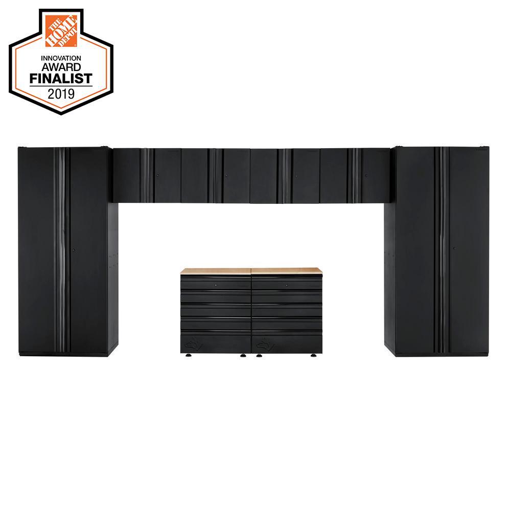 Husky Heavy Duty Welded 184 in. W x 81 in. H x 24 in. D Steel Garage Cabinet Set in Black (8-Piece)