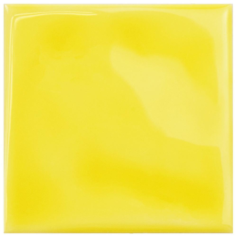 Merola Tile Twist Square Yellow Lemon 3-3/4 in. x 3-3/4 in. Ceramic ...