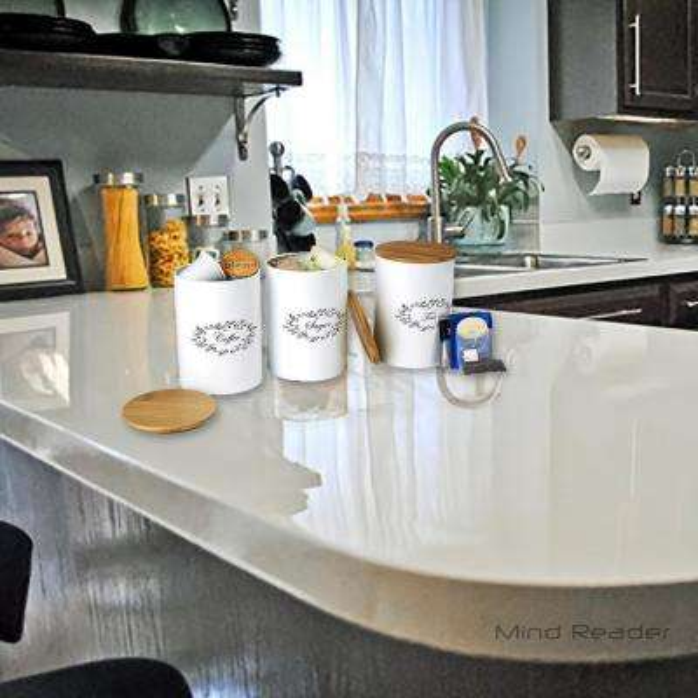 Ekolu 3-Piece Sugar, Tea and Coffee Metal Canister Set in White