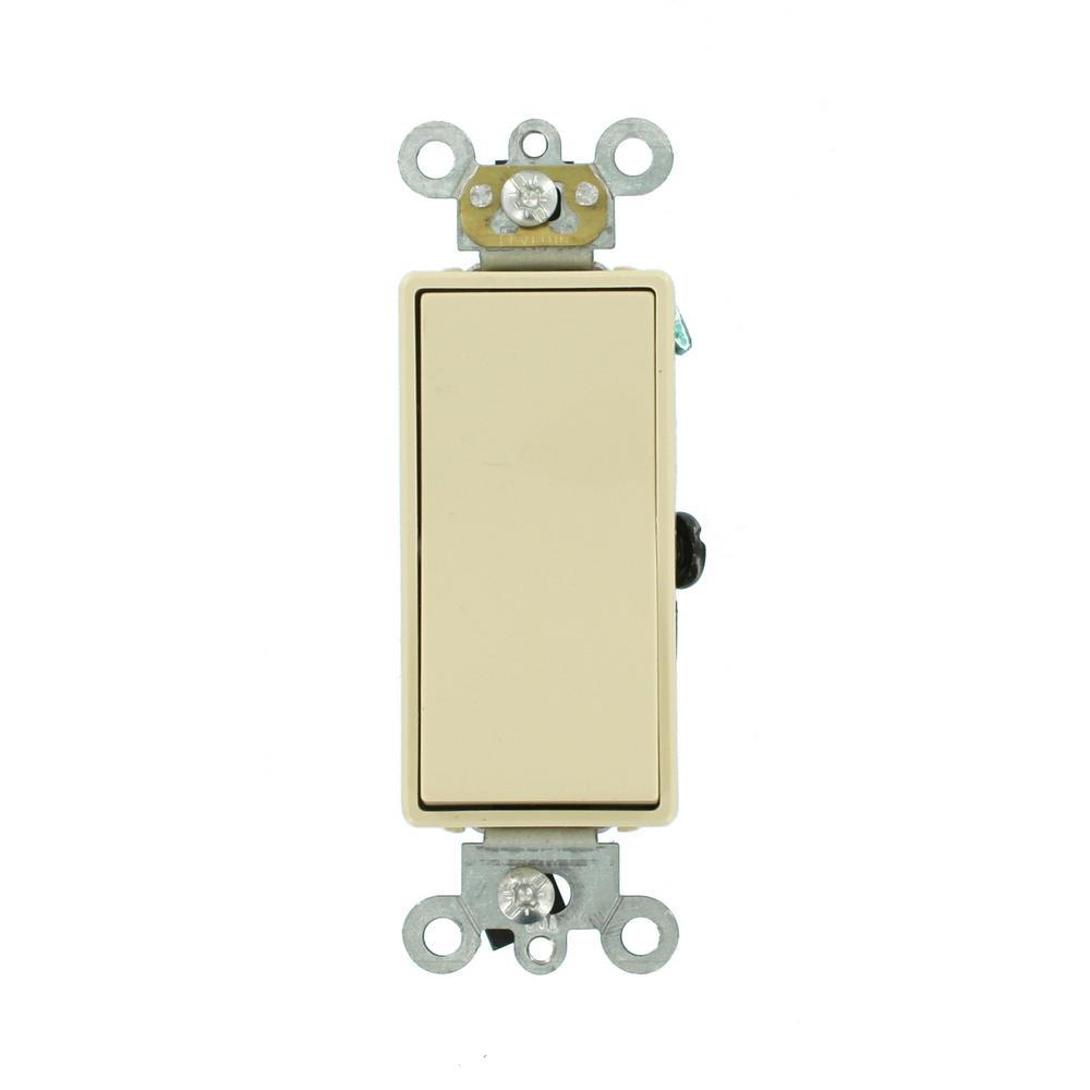 15 Amp Decora Plus Commercial Grade 3-Way Rocker Switch, Ivory