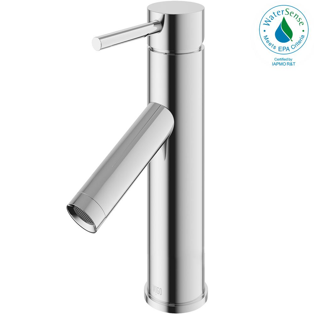 VIGO Single Hole Single-Handle Bathroom Faucet in Chrome-VG01008CH ...
