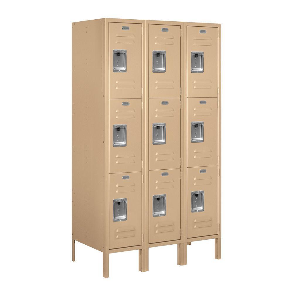Salsbury Industries 63000 Series 36 in. W x 66 in. H x 18 in. D - Triple Tier Metal Locker Assembled in Tan
