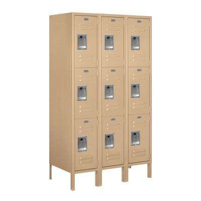 63000 Series 36 in. W x 66 in. H x 18 in. D - Triple Tier Metal Locker Assembled in Tan