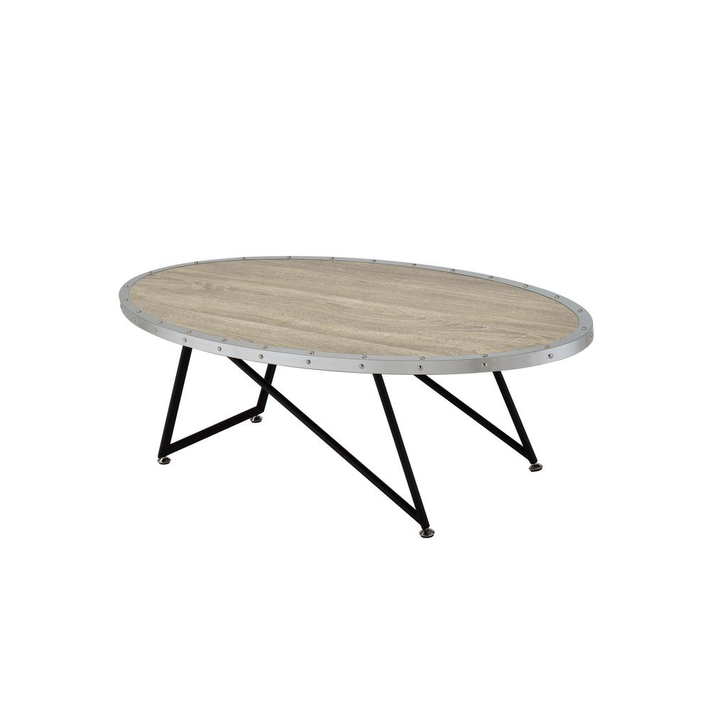 Acme Furniture Allis Weathered Gray Oak Water Resistant Coffee Table