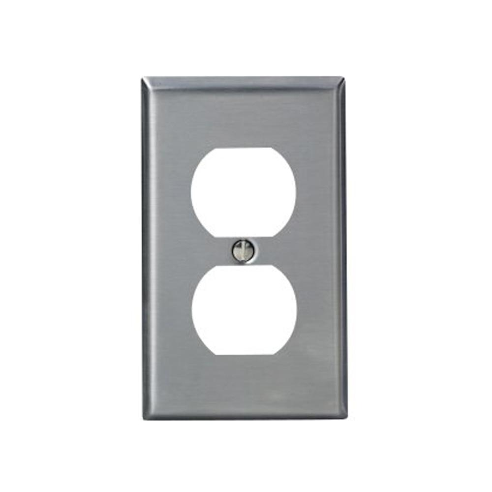 1-Gang Standard Size Stainless Steel Wall Plate and 1-Duplex Receptacle in
