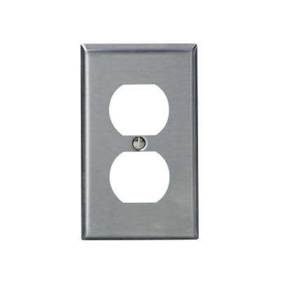 1-Gang Standard Size Stainless Steel Wall Plate and 1-Duplex Receptacle in Stainless Steel