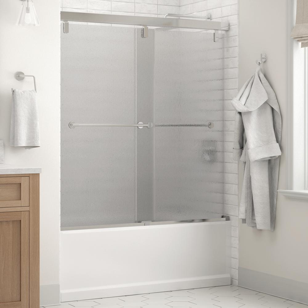 Lyndall 60 x 59-1/4 in. Frameless Mod Soft-Close Sliding Bathtub Door in Chrome with 1/4 in. (6mm) Rain Glass