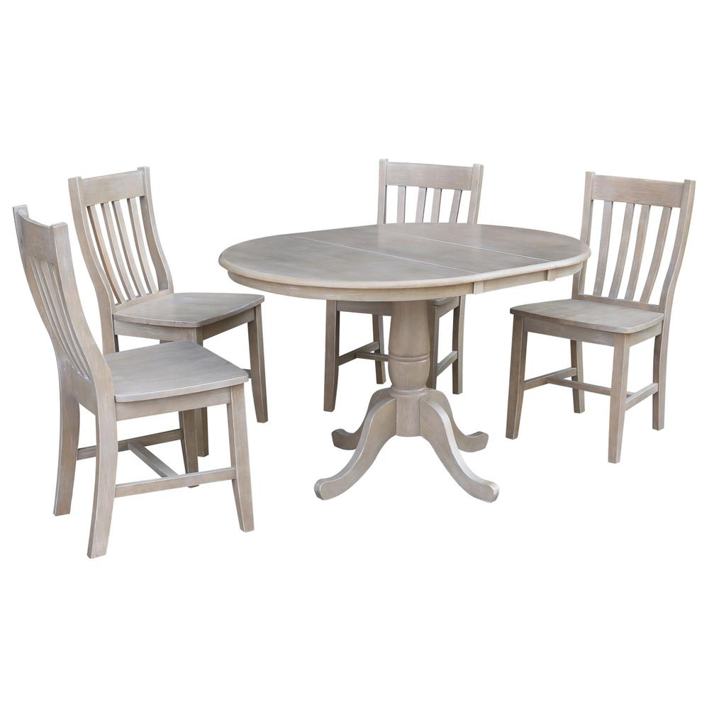 Laurel 5-Piece Oval Weathered Taupe Gray Dining Set with Cafe Chairs