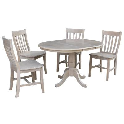 Laurel 5-Piece 36 in. Weathered Taupe Extendable Solid Wood Dining Set with Cafe Chairs