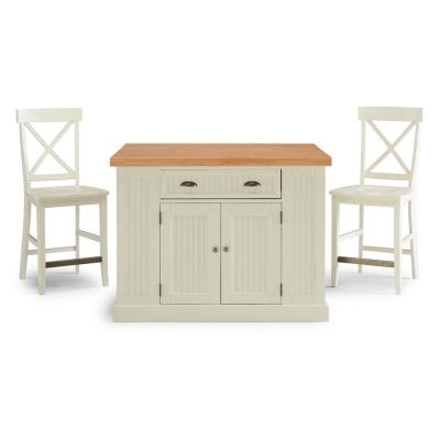 Nantucket White Kitchen Island with Wood Top and 2-Counter Stools