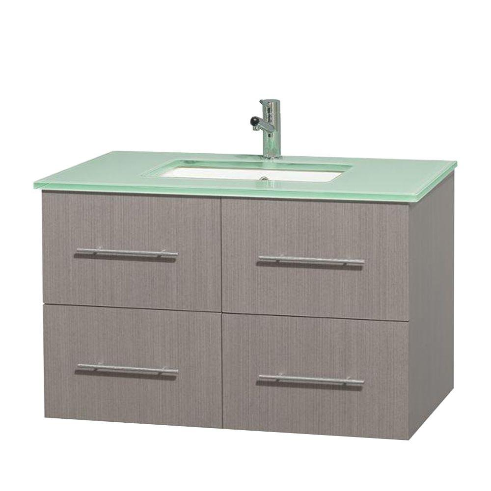 Wyndham Collection Centra 36 in. Vanity in Gray Oak with Glass Vanity Top in Green and Undermount Sink
