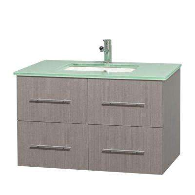 Centra 36 in. Vanity in Gray Oak with Glass Vanity Top in Green and Undermount Sink