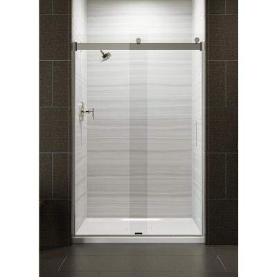 Levity 48 in. x 74 in. Semi-Frameless Sliding Shower Door in Silver with Handle