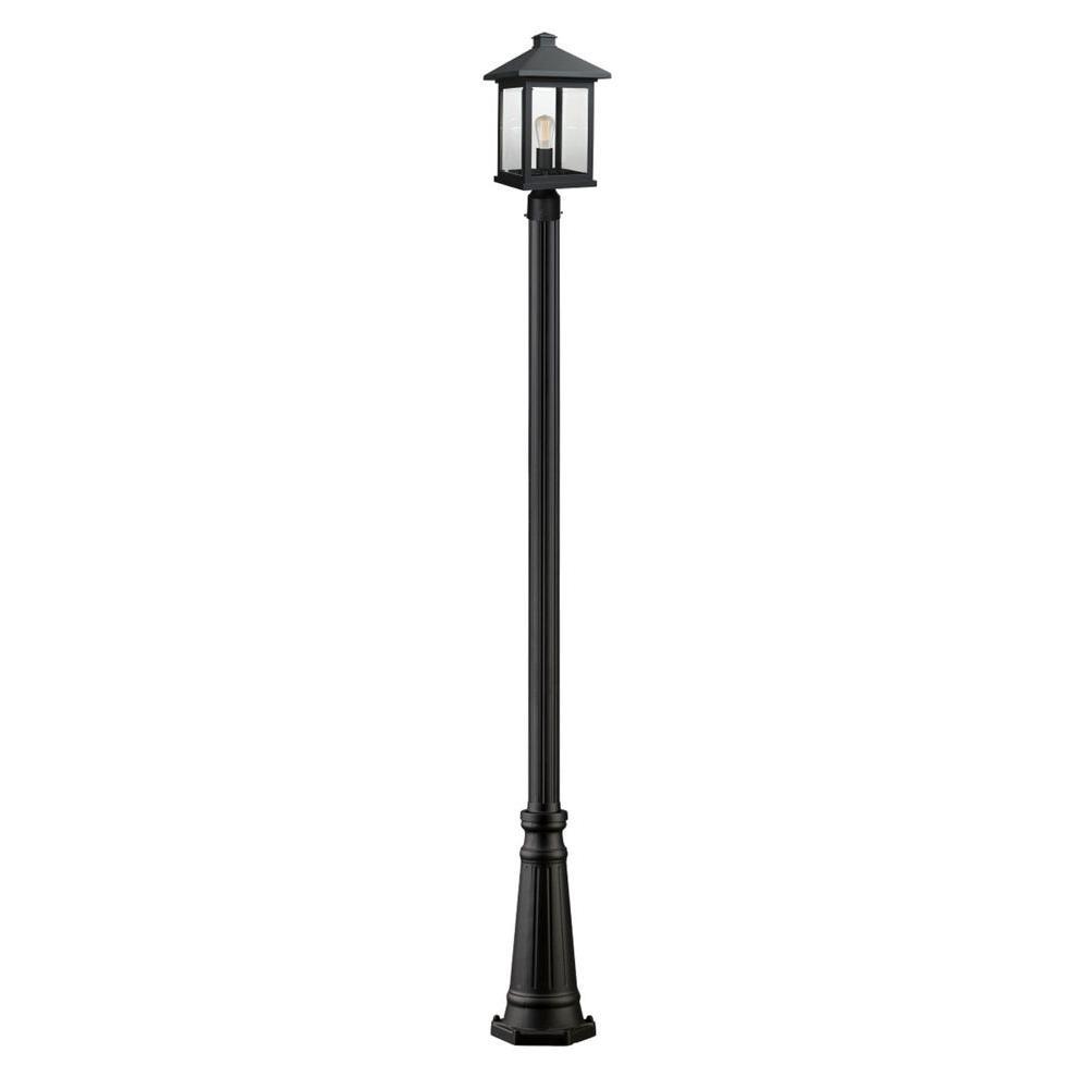 Malone 1-Light Black Outdoor Lamp Post