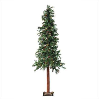 7 ft. x 40 in. Pre-Lit Traditional Woodland Alpine Artificial Christmas Tree in Multi Lights