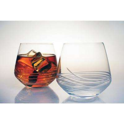 Mid-Century Modern 13 oz. Clear Double Old-Fashioned (Set of 4)