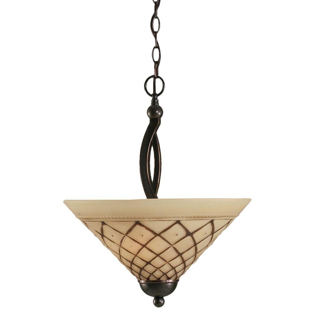 Filament Design Concord 2-Light Black Copper Pendant with Chocolate Icing Glass