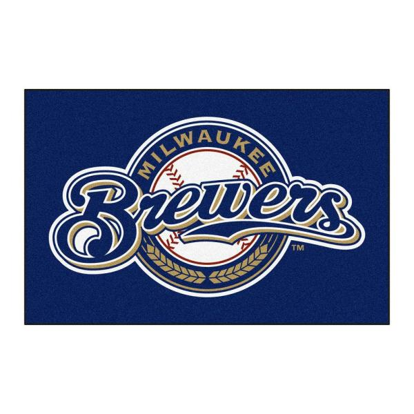 MLB Milwaukee Brewers 1 ft. 7 in. x 2 ft. 6in. Starter Mat Area Rug