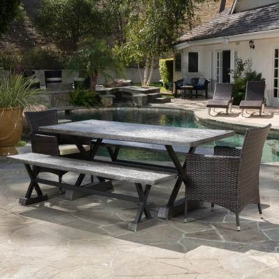 Numana Brown 5-Piece Wicker Outdoor Dining Set with Beige Cushions