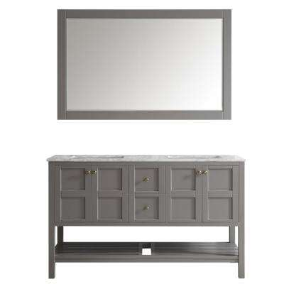 Florence 60 in. W x 22 in. D x 35 in. H Vanity in Grey with Marble Vanity Top in White with Basin and Mirror
