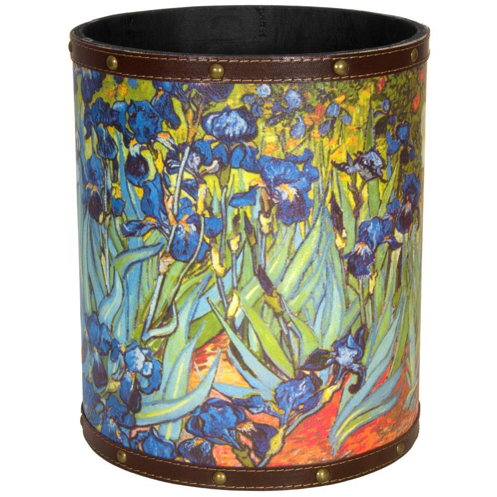 Oriental Furniture 8.25 in. x 10 in. Van Gogh Irises Waste Basket