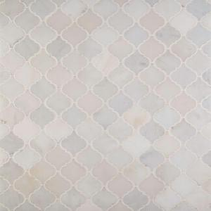 Greecian White Arabesque 12 in. x 12 in. x 10 mm Polished Marble Mosaic Floor and Wall Tile (10 sq. ft./case)