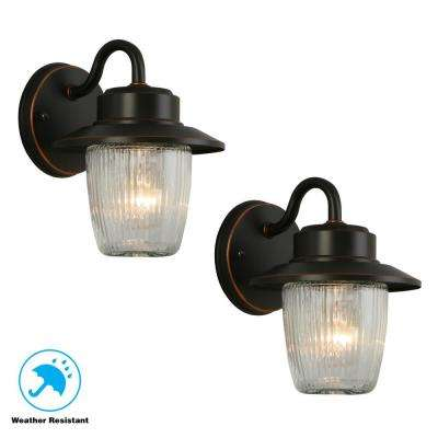 1-Light Oil Rubbed Bronze Outdoor Wall Mount Sconce (2-Pack)