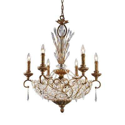 Senecal 12-Light Spanish Bronze Ceiling Mount Chandelier