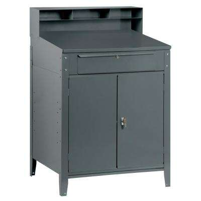 53 in. H x 34.5 in. W x 30 in. D Metal Cabinet Shop Desk in Gray