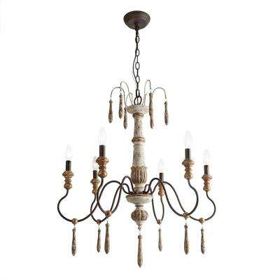 6-Light Antique White Rustic Wood French Country Chandelier