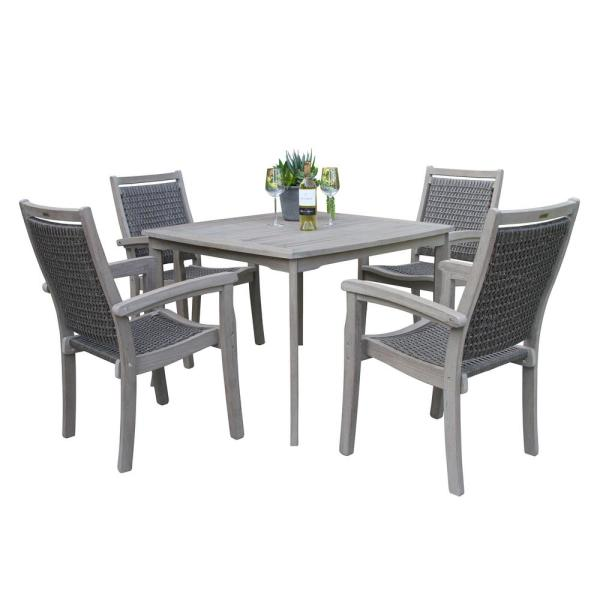 Grey Wash Eucalyptus and Driftwood Grey 5-Piece Wicker Square Outdoor Dining Set
