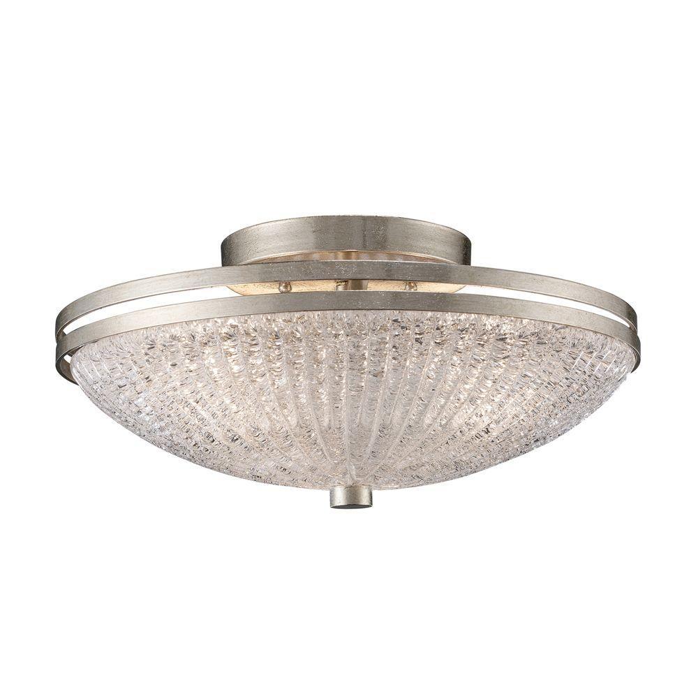 Titan lighting new york 3 light renaissance silver ceiling semi flush mount light